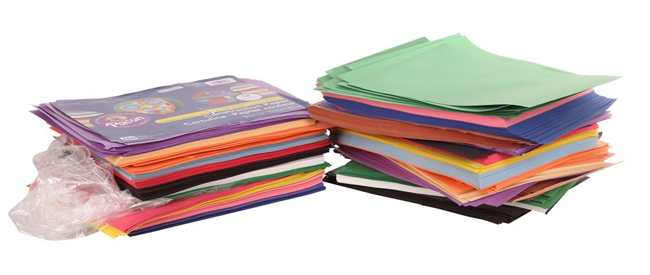 2 Packs x 684-Sheets Coloured Construction Paper. N.B. One Pack Broken. (SN
