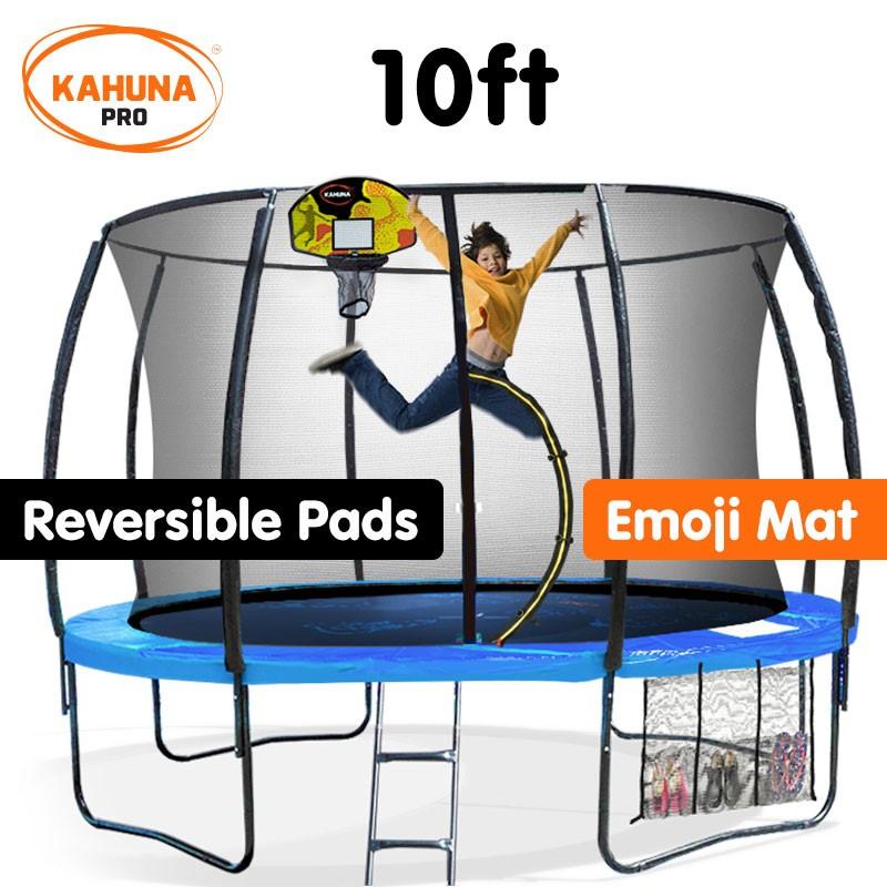 Kahuna Trampoline Pro 10ft - Reversible pad, Emoji Mat, Basketball Set