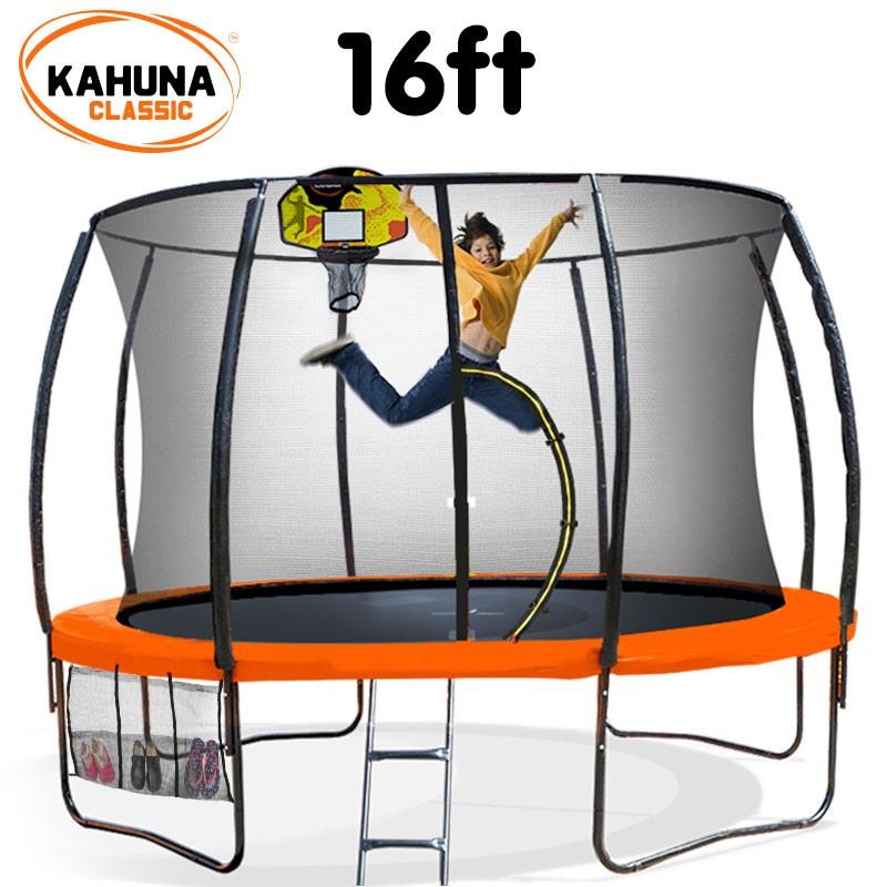 Kahuna Trampoline 16 ft - Orange with Basketball Set