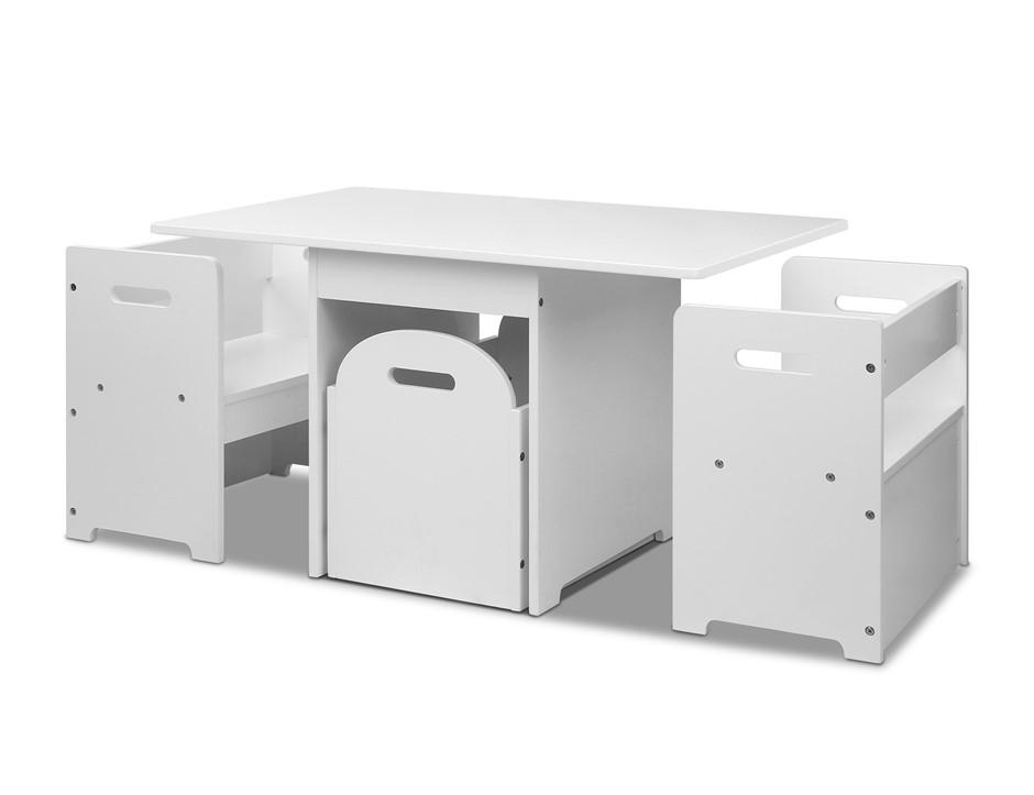 Keezi 4PCS Kids Table and Chairs Set Storage Box Toys Desk Wooden Children