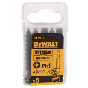 Pack of 5 DeWALT Impact Bits PH1x50mm.