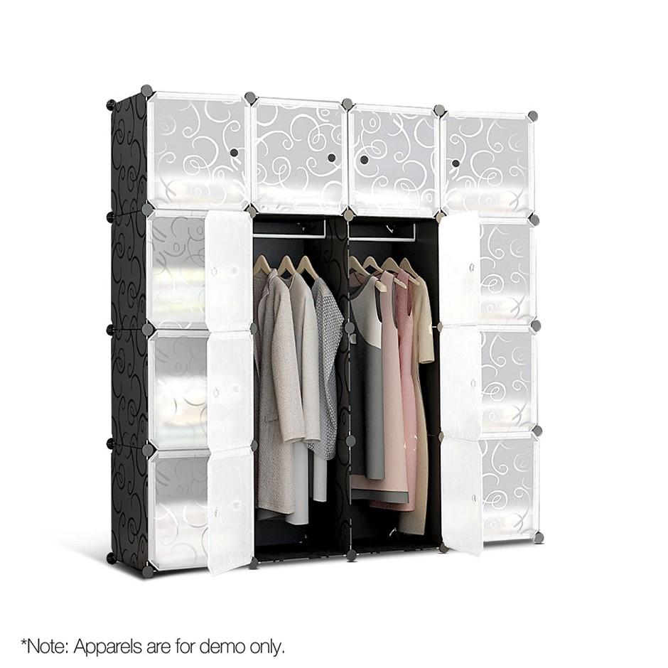16 Cube Portable Storage Cabinet Wardrobe - Black & White