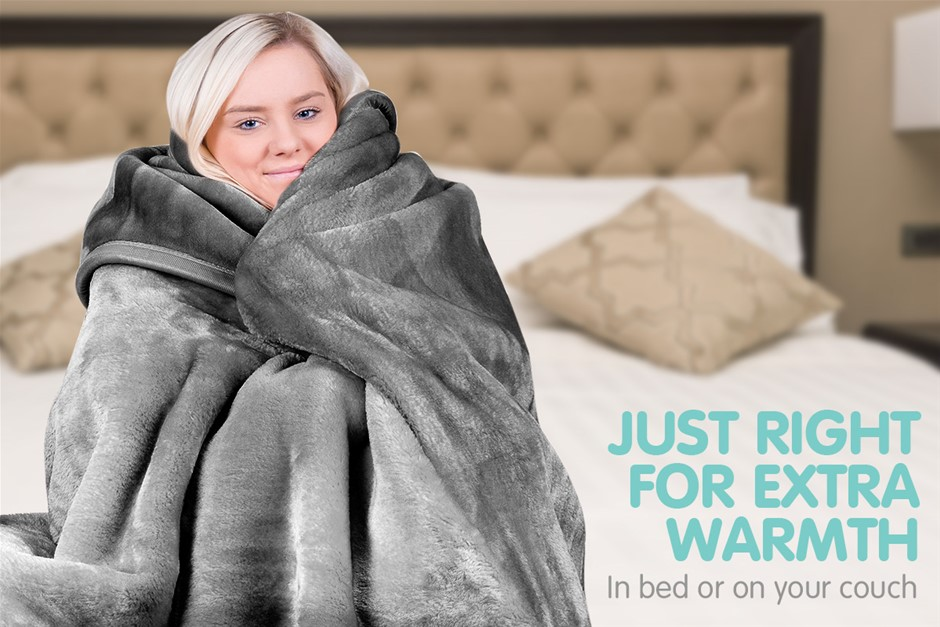 600GSM Double-Sided Queen Faux Mink Blanket - Silver