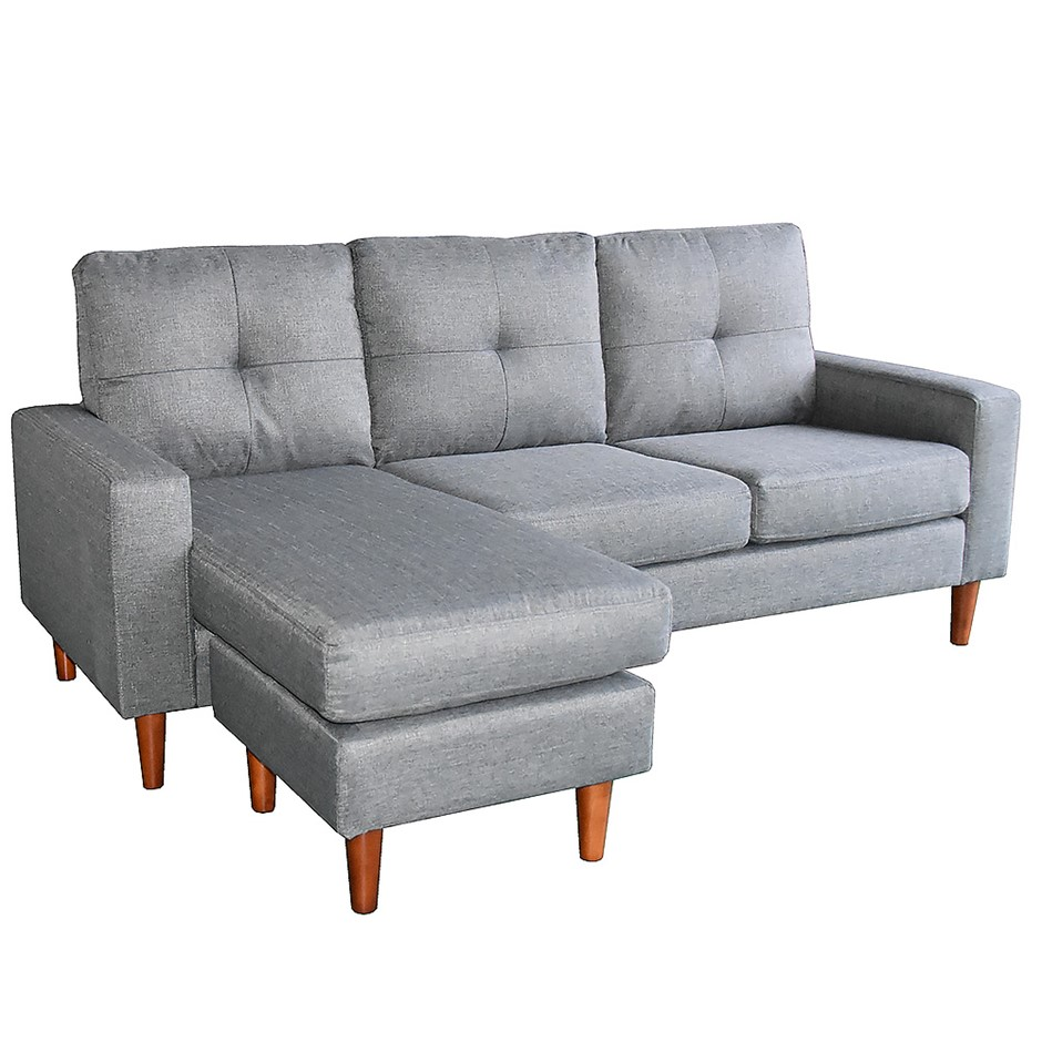 Linen Corner Sofa Couch Lounge Chaise With Wooden Legs