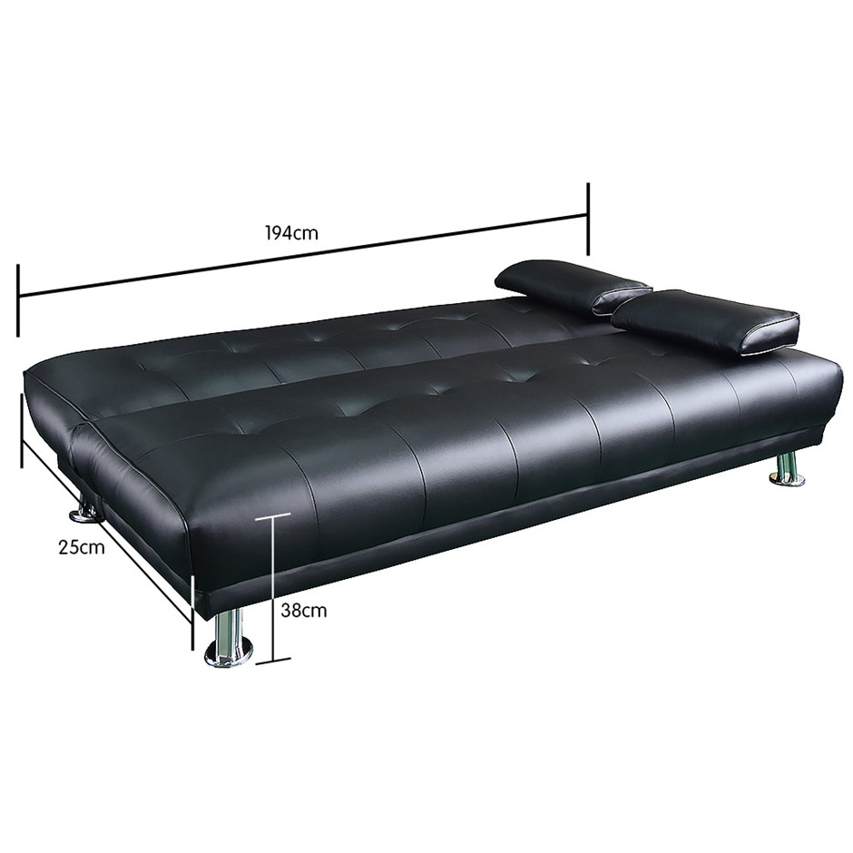 Black Leather Sofa Bed Ebay: Manhattan 3 Seater Faux Leather Sofa Bed Couch Lounge