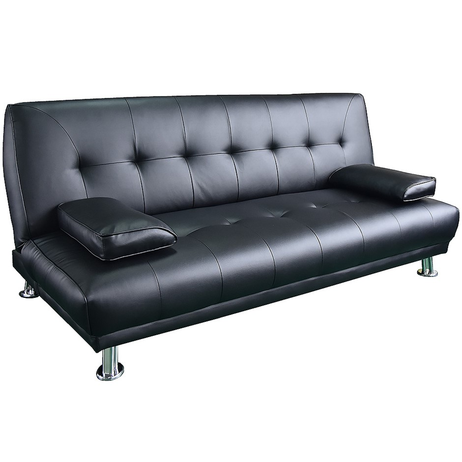 Manhattan 3 Seater Faux Leather Sofa Bed Couch Lounge Futon Black