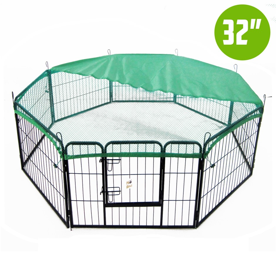 "8 Heavy Duty Panel Foldable Pet Playpen 32"" w/ Cover - GREEN"