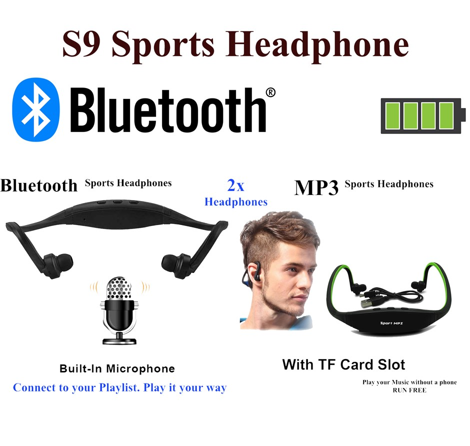 1 x MP3 and 1 x Bluetooth Headphones Sport Music Player