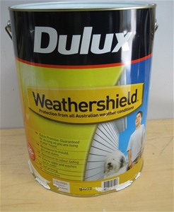 Dulux 10 litre vivid white weathershield gloss exterior for Exterior water based paint