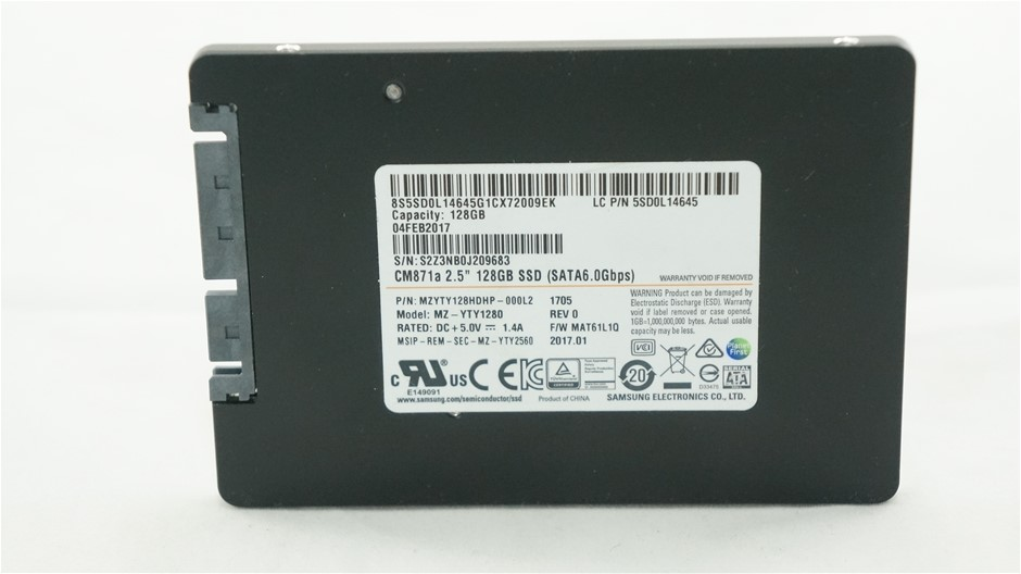"Samsung 2.5"" 128GB Solid State Drive Part Number: MZYTY128HDHP-000L2"