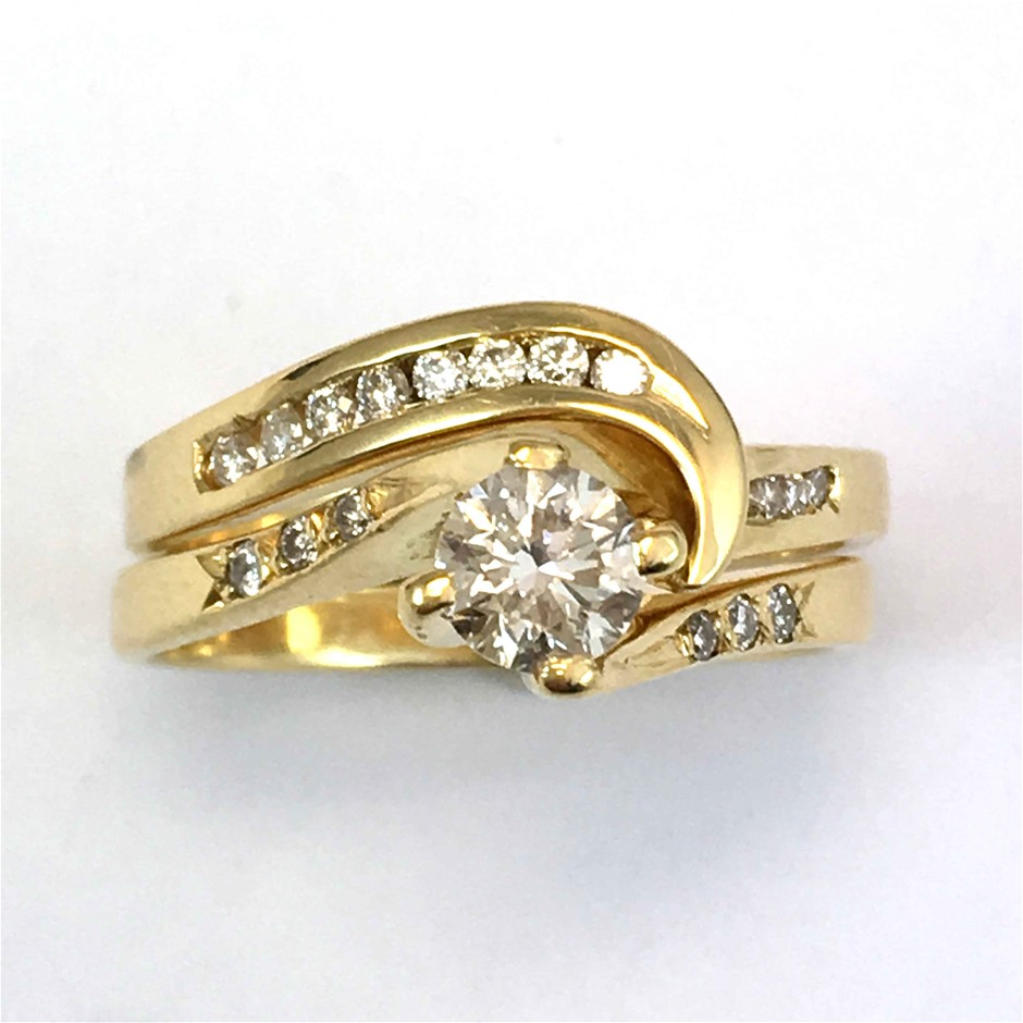 18ct Yellow Gold, 0.56ct Engagement Ring Set