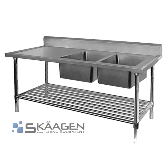 Unused Stainless Steel Sink 1900 x 600 Two (2) bowls - Right position,