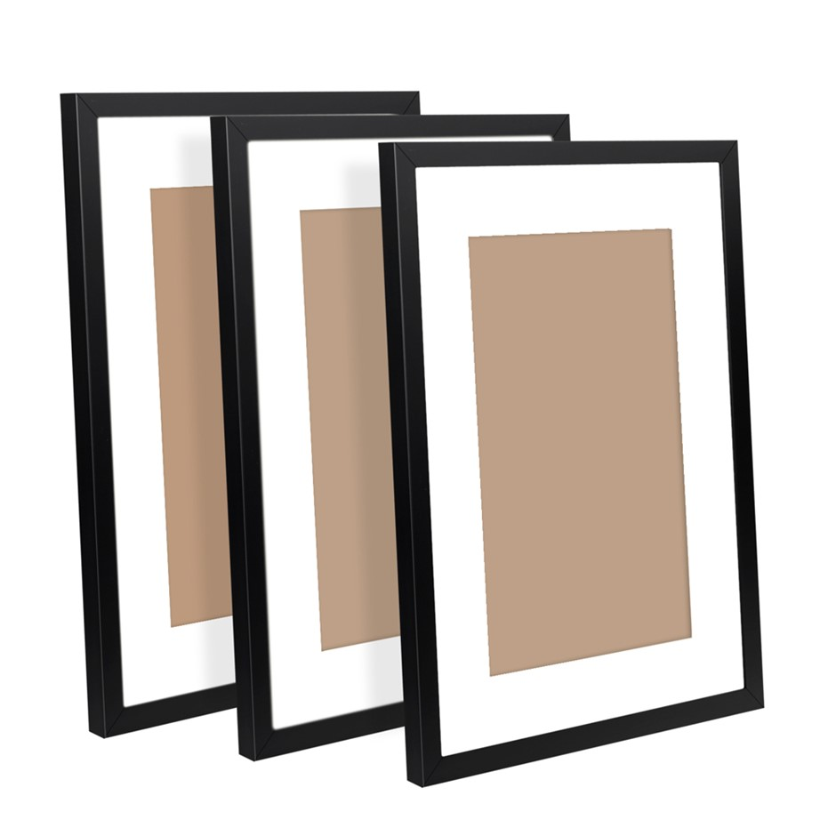 3 Piece Photo Frames Set - Black