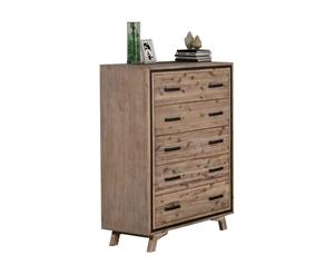 Tallboy with 5 Storage Drawers Acacia Wo