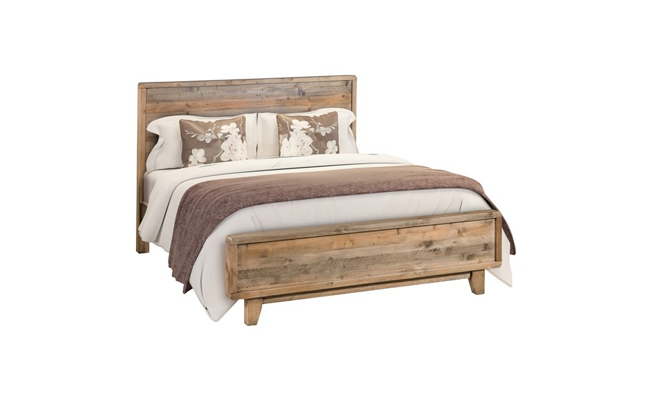 Queen Size Wooden Bed Frame in Solid Wood Antique Design Light Brown