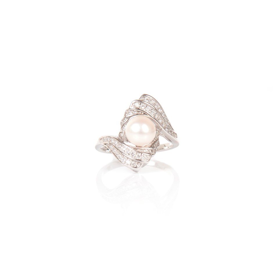 Natural Freshwater Pearl & CZ Set Silver Ring