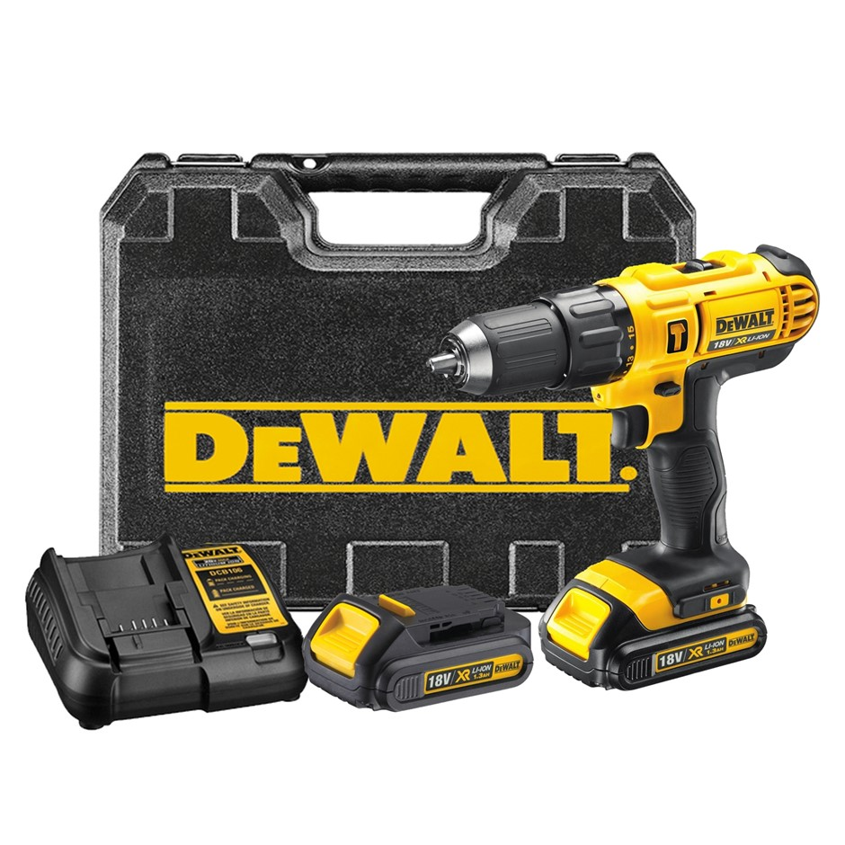 DeWALT 18V Cordless Drill c/w 2 x Batteries & Charger in Blow Mould Case. B