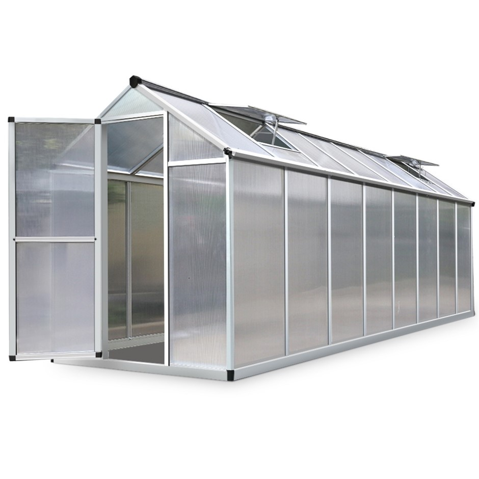 Green Fingers 4.8 x 1.9m Polycarbonate Aluminium Green House