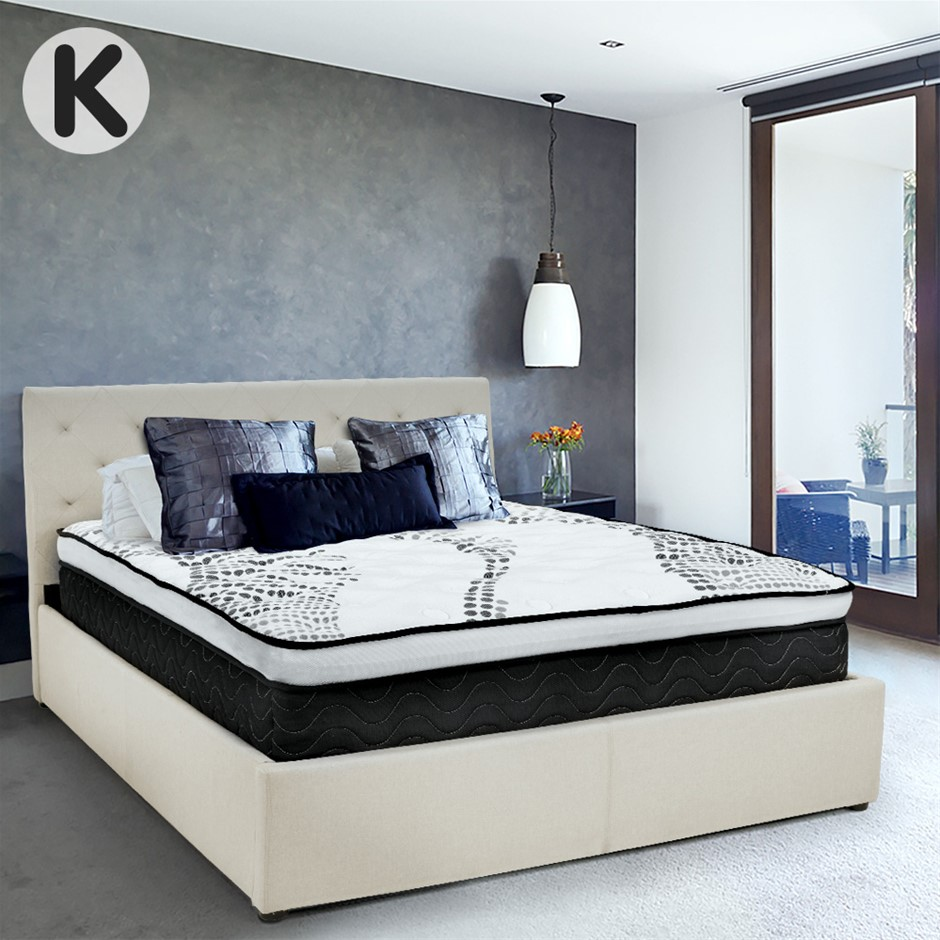 King Fabric Gas Lift Bed Frame with Headboard - Beige