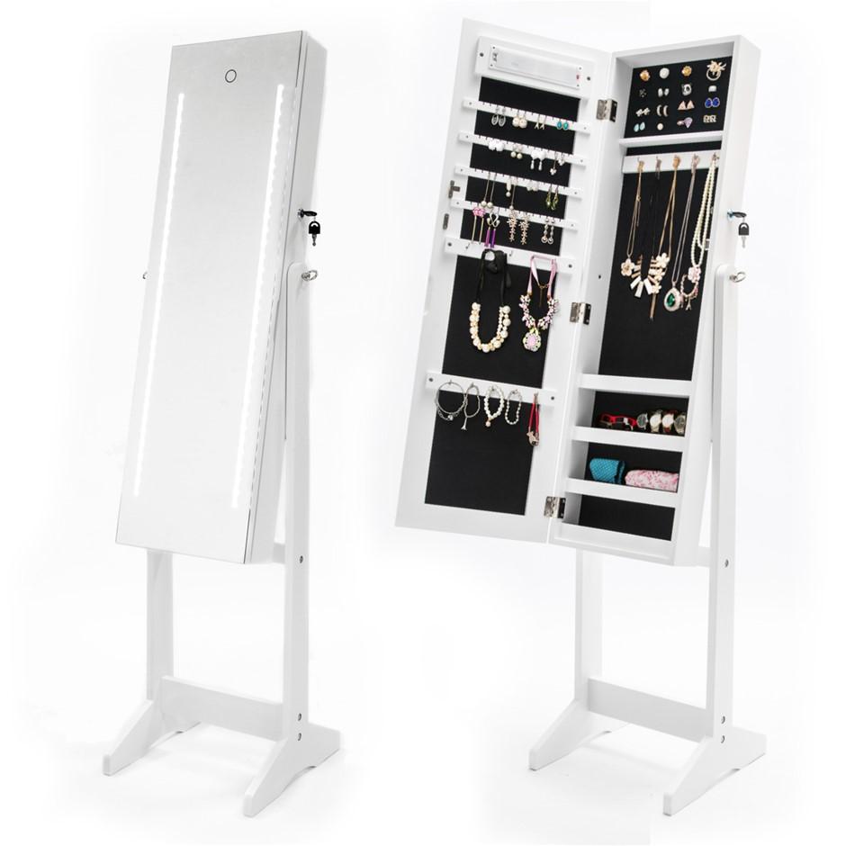 Mirror Jewellery Cabinet PRADI - WHITE LED