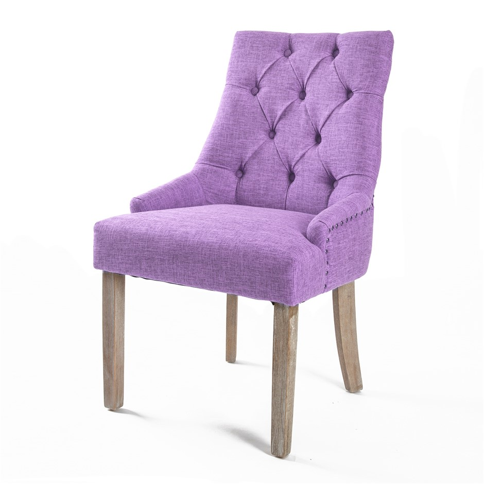 1X French Provincial Oak Leg Chair AMOUR - VIOLET