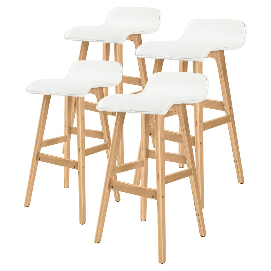 4x Oak Wood Bar Stool 74cm Leather SOPHIA - WHITE