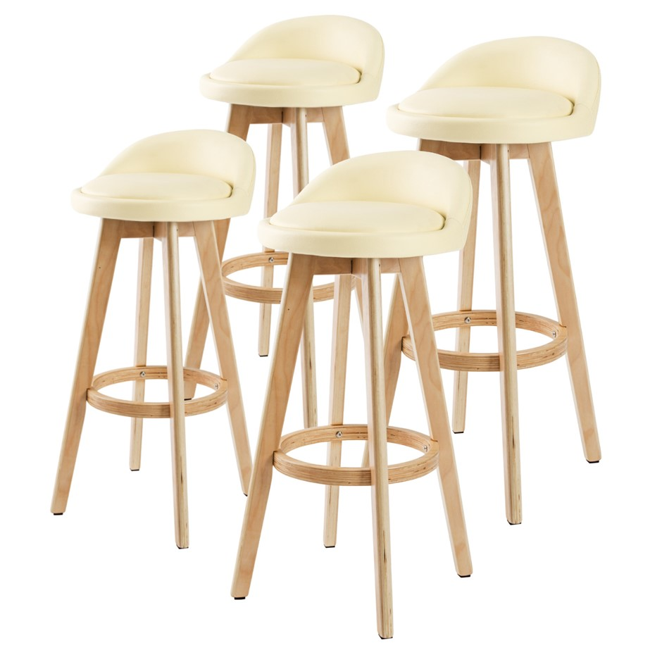 4x Oak Wood Bar Stool 72cm Leather LEILA - CREAM