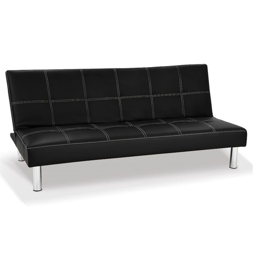 Chelsea 3 Seater Faux Leather Sofa, Black Leather Sofa Bed Couch