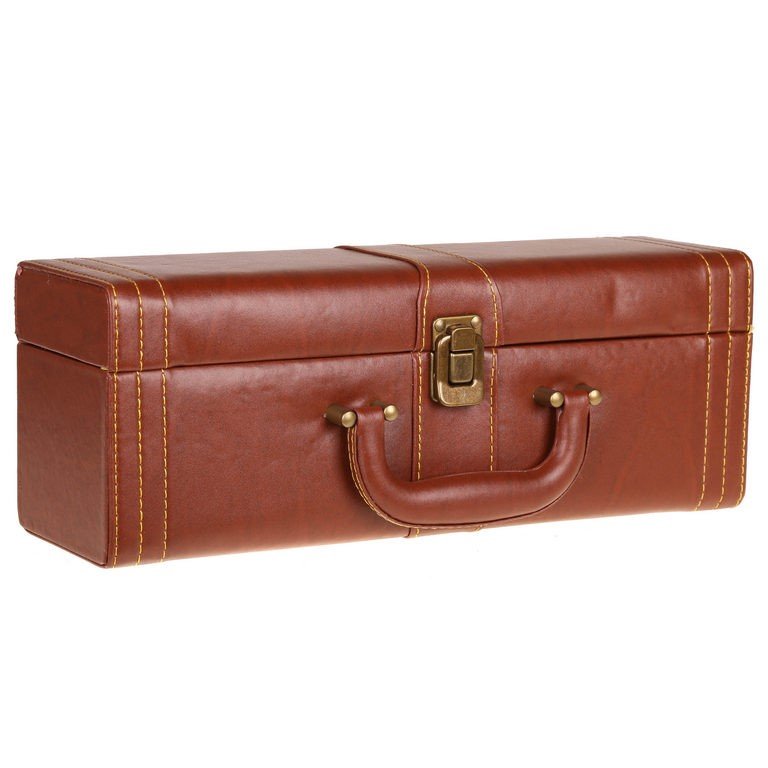 Bottle Wine Case, PU Leather Cover, Brown c/w Accessories. Buyers Note - Di