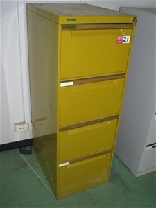 cheaper dd7a1 14ead Filing Cabinet, 4 Drawer, Brownbuilt, recessed handles, mustard metal finis