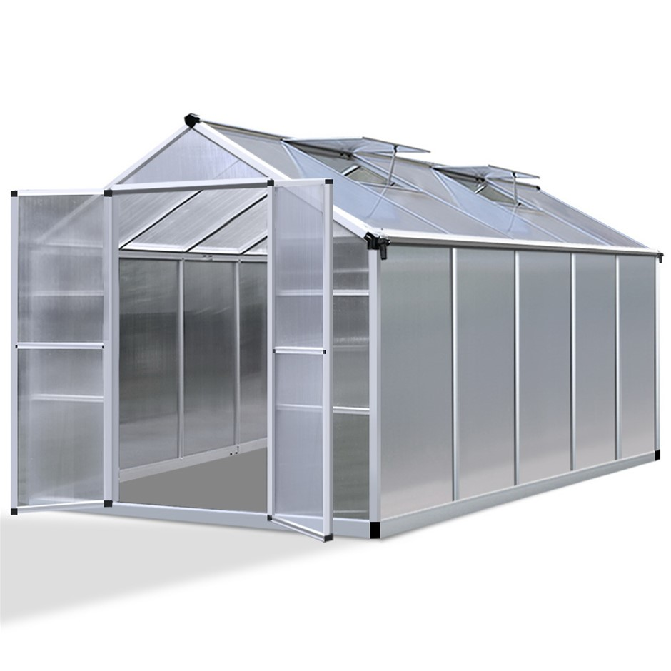 Green Fingers 3.1 x 2.5m Polycarbonate Aluminium Greenhouse