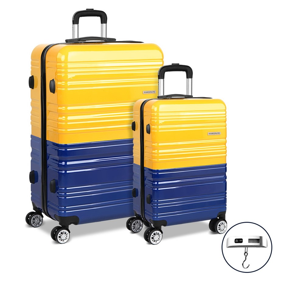 Wanderlite 2 Piece Lightweight Hard Suit Case - Yellow & Purple
