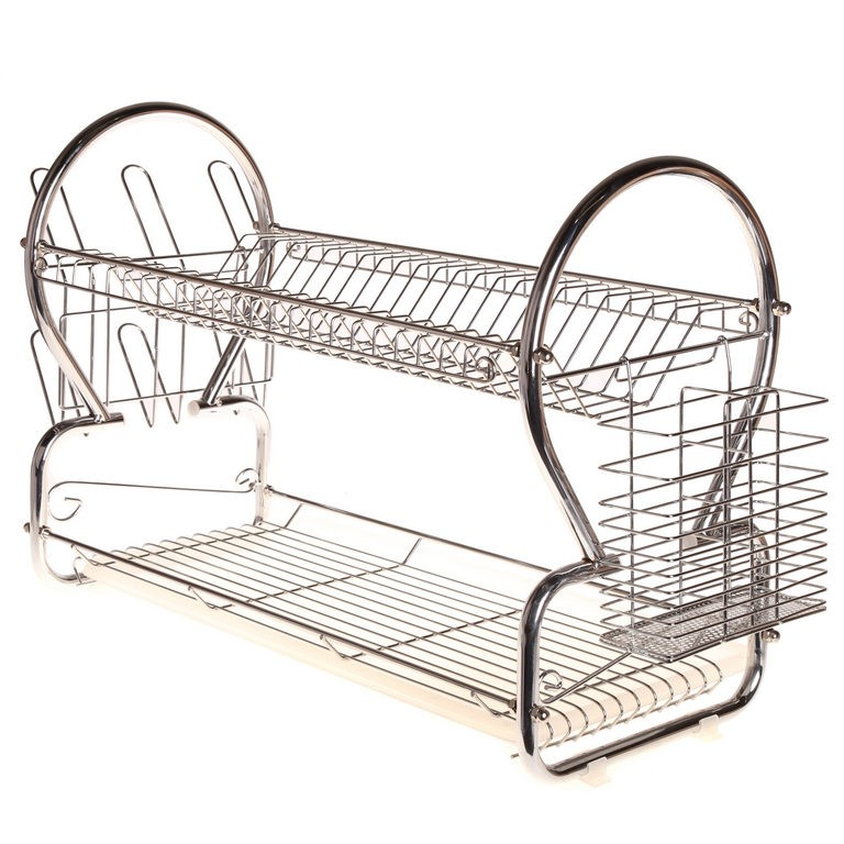 2 x MAINONE 2-Layer Steel Dish Racks, Size: L68xW24xH392mm. Chrome Plated.