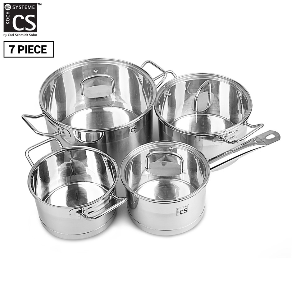 Herten 7pcs SS Cookware Set Pot Saucepan Casserole w/ Glass Lid