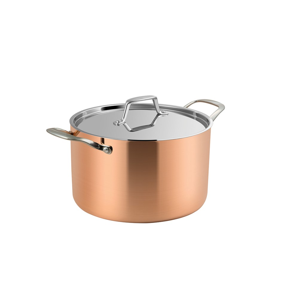 Lassani Tri-Ply Copper 16cm Casserole Stock Pot Lid Cookware Induction SS