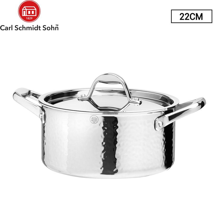 Stern Casserole Tri-Ply Body With S/S Lid 22cm SS Hammered