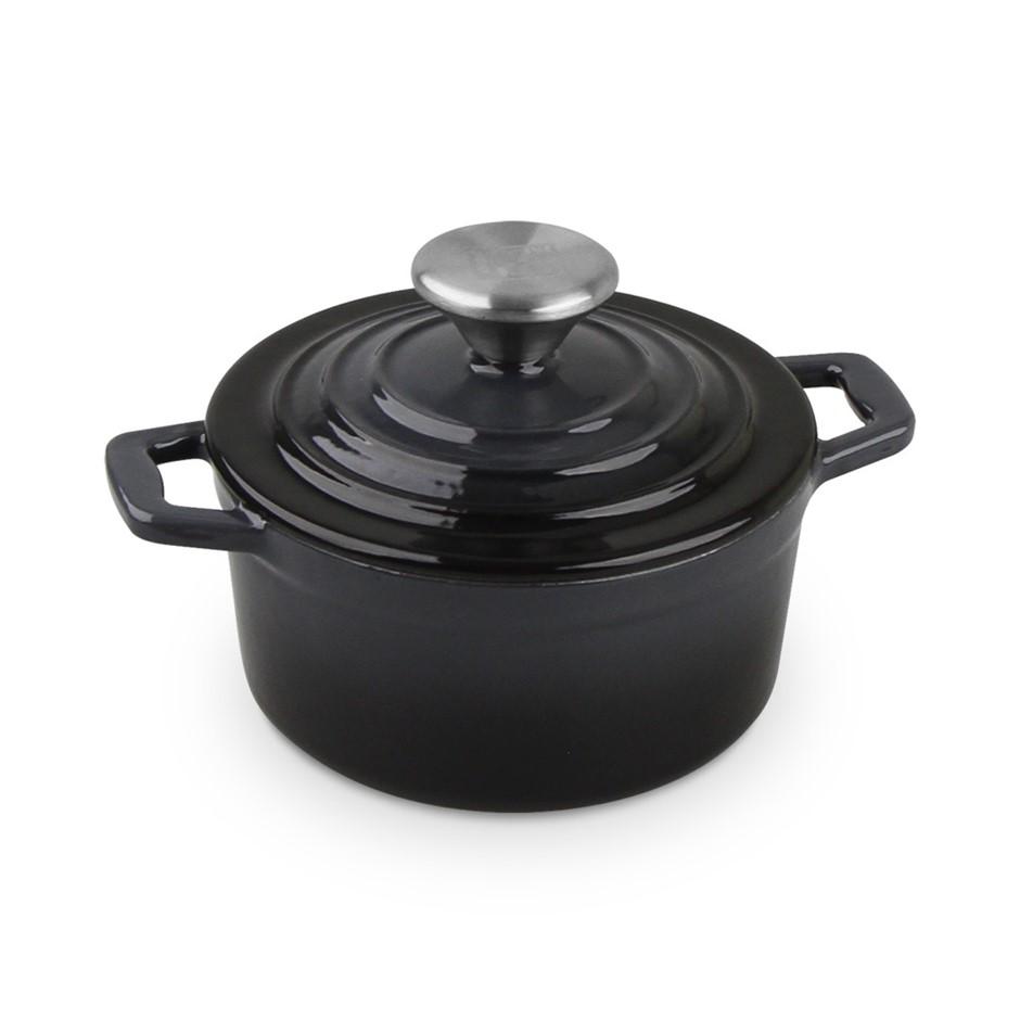 Xanten 14cm Cast Iron Casserole Stockpot Lid Dish Dutch Oven Cook Round