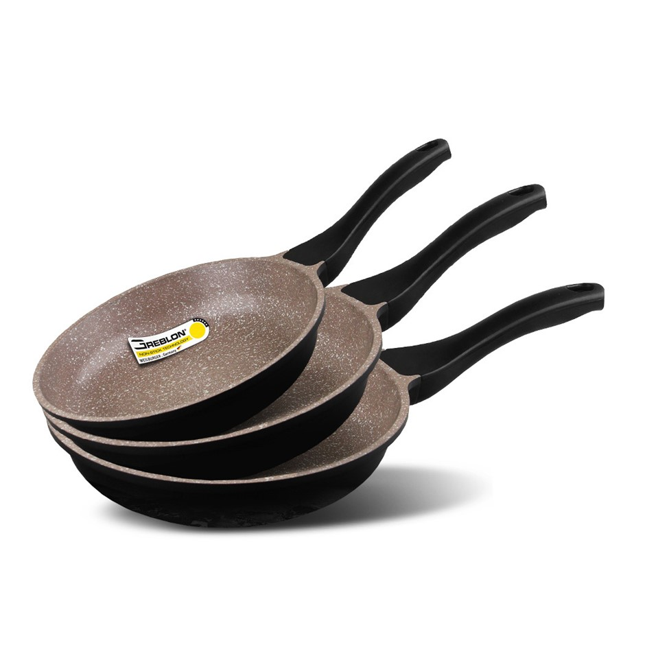K2 3pc Ceramic Stone Deep Frying Pan Cookware