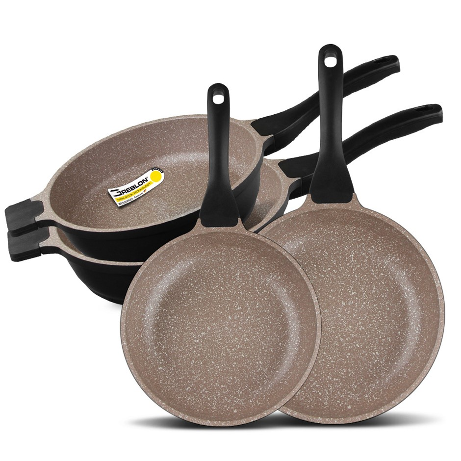K2 4pc Ceramic Stone Deep Frypans Cookware