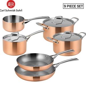 Lassani Tri-ply Copper 9pc Cookware