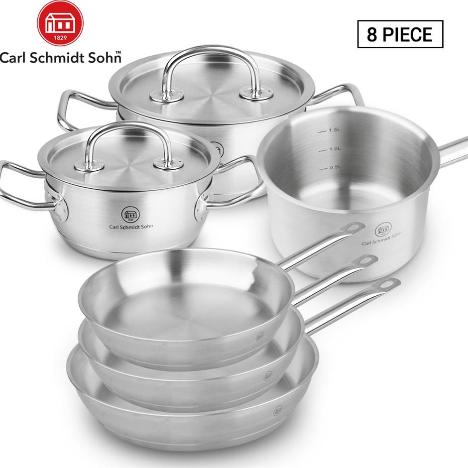 Pro-X 8pcs SS Cookware Set Casserole Saucepan Pot Lid Frying Pan
