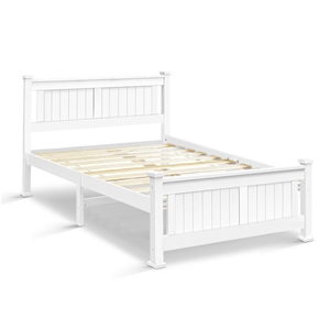 Artiss Double Size Wooden Bed Frame - Wh