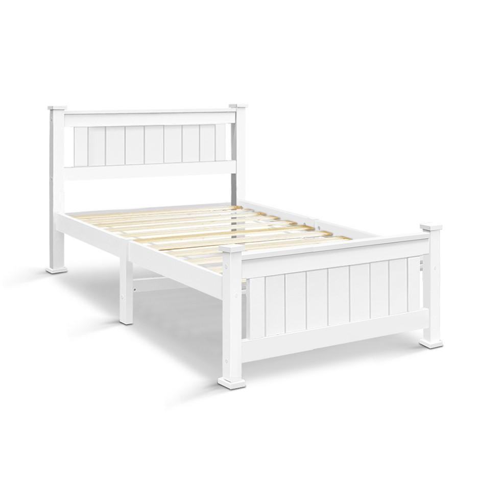 Artiss Single Size Wooden Bed Frame - White
