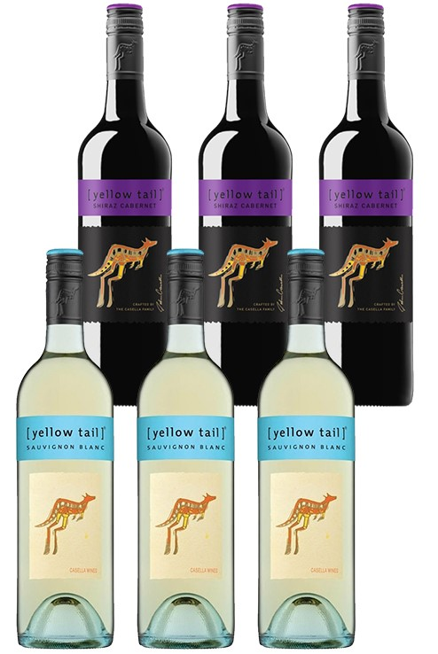 Yellowtail Sauvignon Blanc & Shiraz Cabernet Mixed Pack (6 x 750mL),SE AUS.