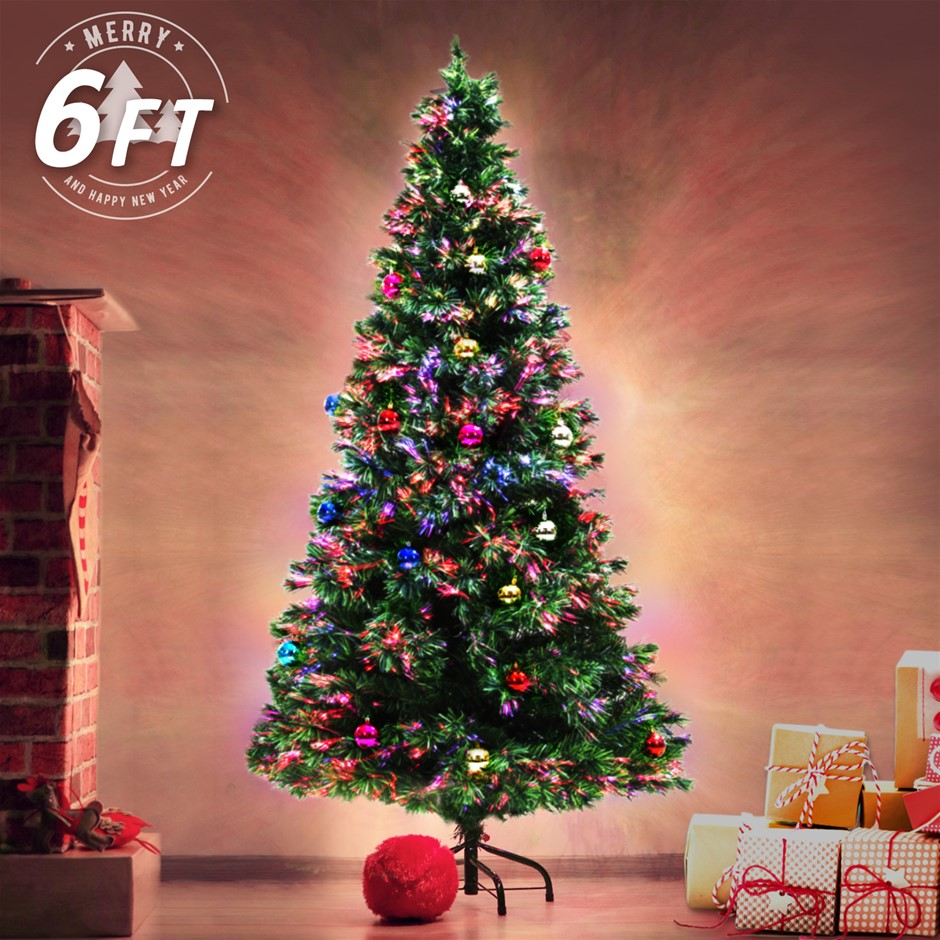 solar christmas decorations 6ft 180cm fibre optic led xmas tree baubles multi colour - Solar Christmas Decorations Outdoor