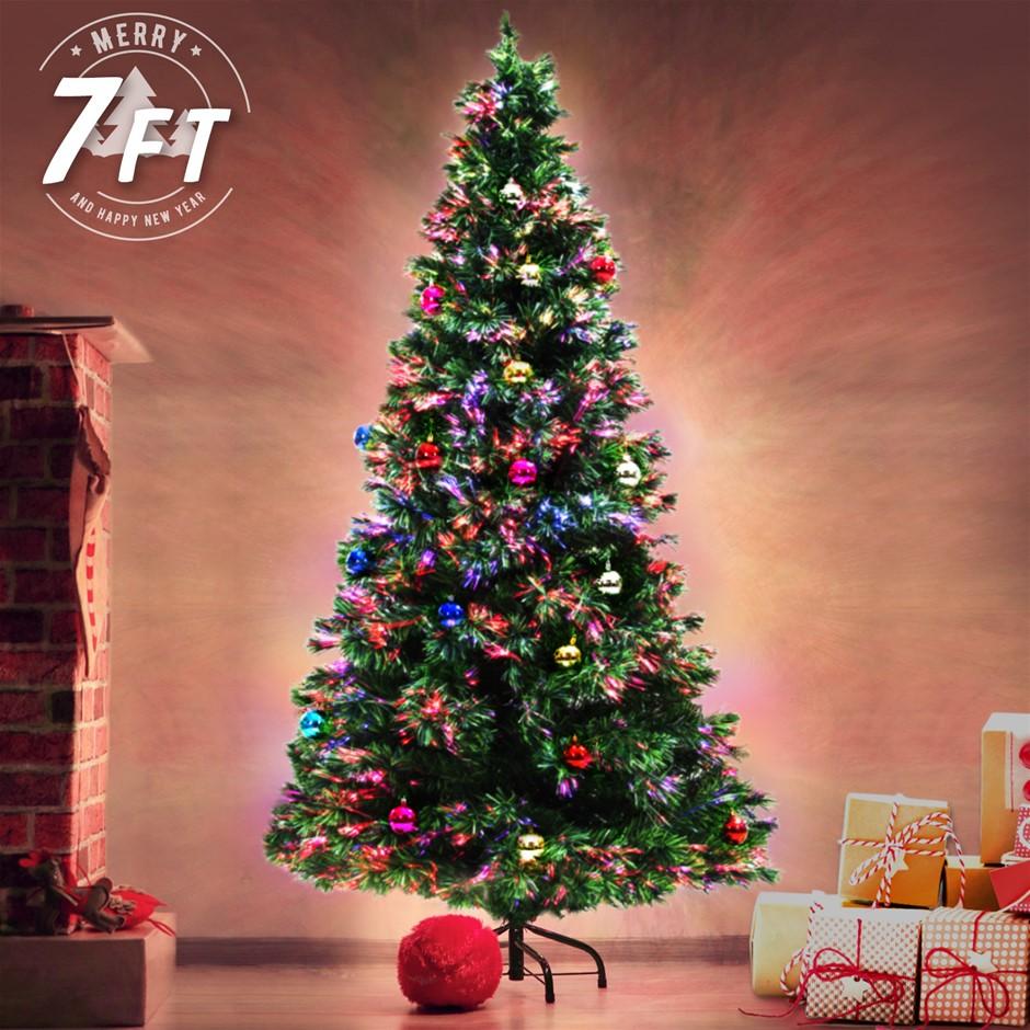 7Ft 210cm Fibre Optic LED Xmas Tree - BAUBLES MULTI COLOUR