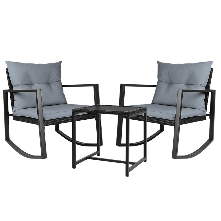 Gardeon Outdoor Rocking Chair and Table Set - Black