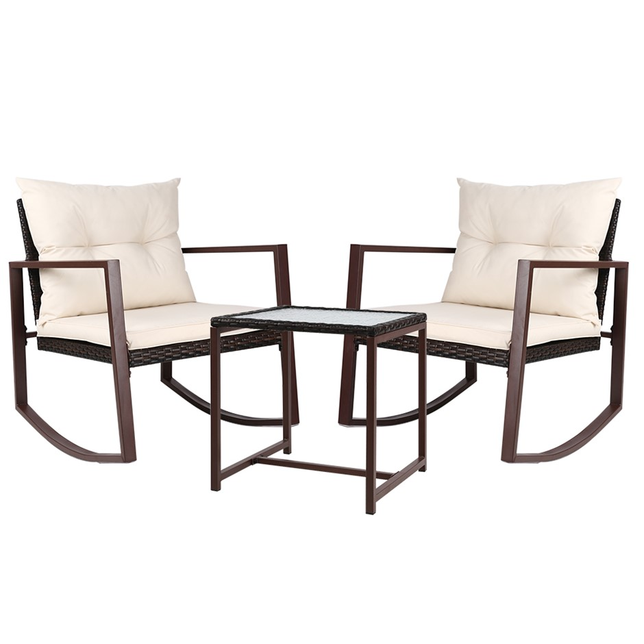 Gardeon Outdoor Rocking Chair and Table Set - Brown