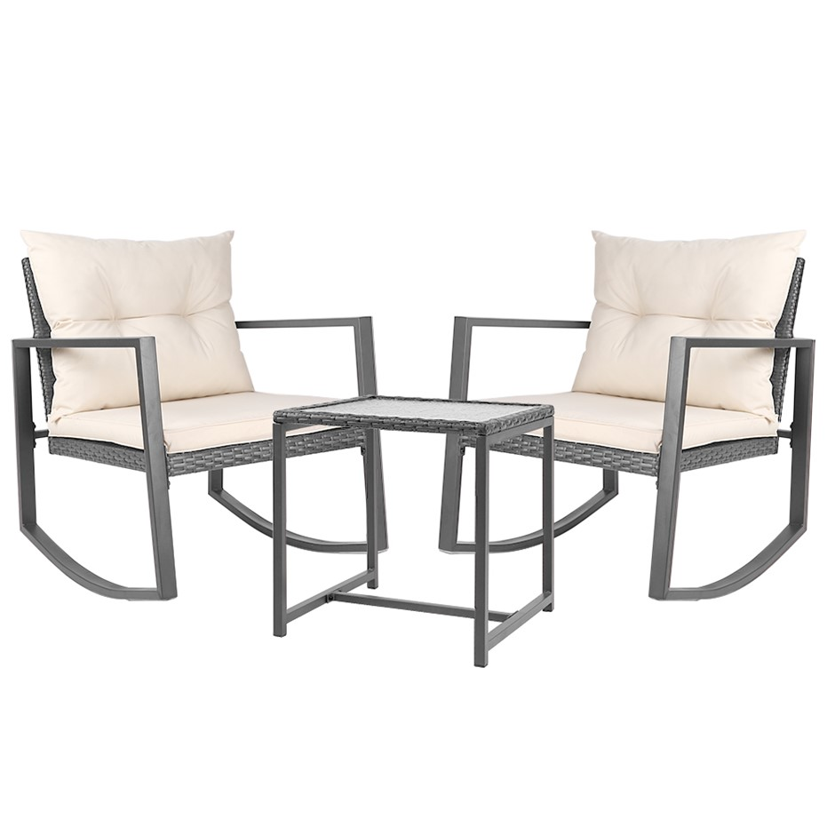 Gardeon Outdoor Rocking Chair and Table Set - Grey