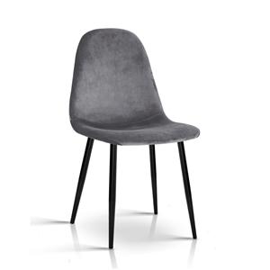 Artiss Velvet Modern Dining Chair - Grey